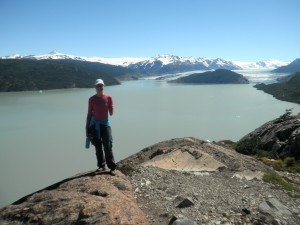 Me at Grey's Glacier in Torres del Paine National Park, Chile feeling full of the joy a hard days walk brings!